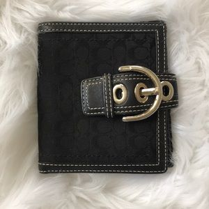 Coach Logo Black Leather Silver Hardware Wallet